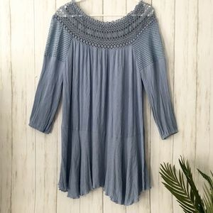 Umgee | Periwinkle Blue Dress with Crochet Detail